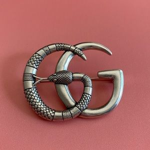 Gucci Authentic Silver Snake GG Pin Brooch